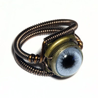 Steampunk Jewelry - Ring - Blue Taxidermy glass Eye - Size 7.5 Only