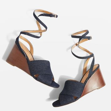 Denim Cross Strap Wedges | Topshop