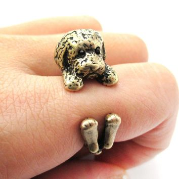 Realistic Toy Poodle Puppy Dog Shaped Animal Wrap Around Ring in Brass | US Sizes 4 to 8.5