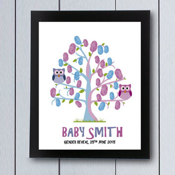Gender Reveal Party Guest Book Owl Baby Shower / printable pdf /  girl or boy  he she guestbook signature game fingerprint tree pink blue
