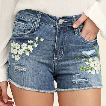 Through the Meadow Medium Wash Embroidered Denim Shorts