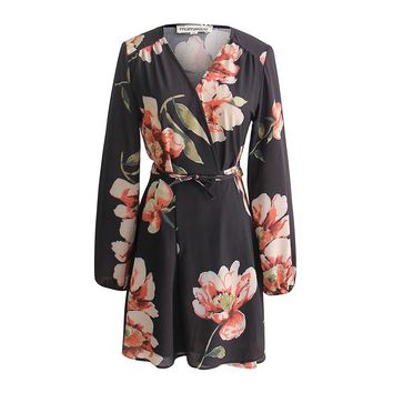 FUFUCAILLM Women Spring Sexy V-neck Floral Print Casual Long Sleeve Empire Waist Short Mini Dress 2018