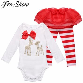 3-18Month 2Pcs Infant Girl first Christmas Cotton Outfit Jumpsuit Costume Deer Romper NewBorn Baby Clothes Next Kid Winter Sets