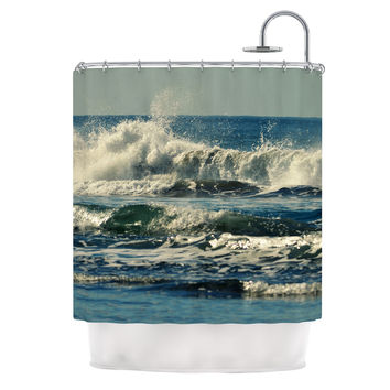 "Robin Dickinson ""Forever Young"" Blue Coastal Shower Curtain"