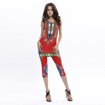 Indian Dress Sari Sari Time-limited Promotion Women India 2017 Thailand Nepal Sell Bigger Sizes Printed Vest + Pants Suit