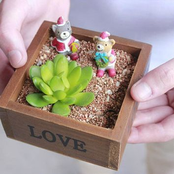 Natural Wooden Succulent Plant Flower Bed Pot Box Garden Planter Home Storage Box Wooden Jewelry Holder 10 x 10 x 5 cm