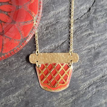 Red & Gold Repurposed Vintage Tin Necklace