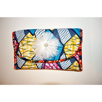 Blue And Pink Vlisco Print African Inspired Womens Clutch
