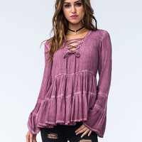 SEA GYPSIES Vagabond Womens Lace Up Top | Blouses