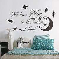 "SWORNA Baby Nursery Series We Love You To The Moon with Moon/Star Removable Vinyl DIY Kids Wall Art Decal Saying Lettering Quotes Uplifting Children's Bedroom/Playroom/Kindergarten 24"" H X 46"" W Black"