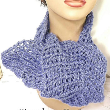 Periwinkle Crochet Scarf, Crochet Infinity Scarf, Crochet Cowl Scarf, Chunky Scarf, Periwinkle Scarf, Ribbed Scarf, KNOT Womens Accessories