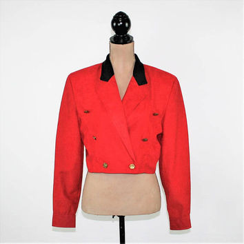 Red Jacket Double Breasted Cropped Jacket Women Medium Fashion Jacket Short Red Military Jacket Black Collar Vintage Clothing Women Clothing