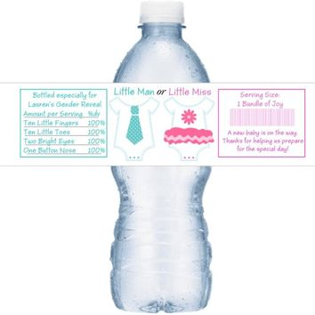 21 Little Man Little Miss Baby Shower Water Bottle Labels