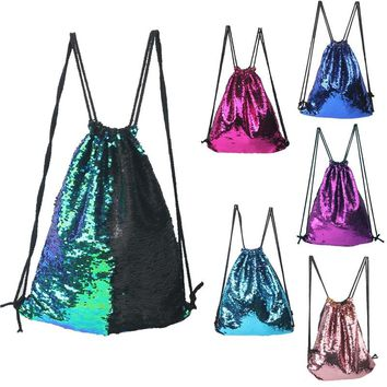 Mermaid Sequin Backpack Sequins Drawstring Bags Reversible Paillette travel Backpack Glitter Shoulder Bags Travel Bag