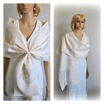 Luxurious Japanese Silk Wrap Rinzu Stole Ivory Bridal Bridesmaids Shawl Wedding Scarves Collar Kimono Fabrics Shrug Vintage Floral Topper