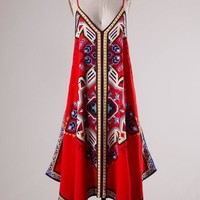 Red Aztec Handkerchief Dress