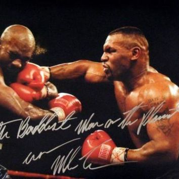 ICIKJNG Mike Tyson Signed Autographed 'The Baddest Man On The Planet' Glossy 16x20 Photo vs. Evander Holyfield (ASI COA)