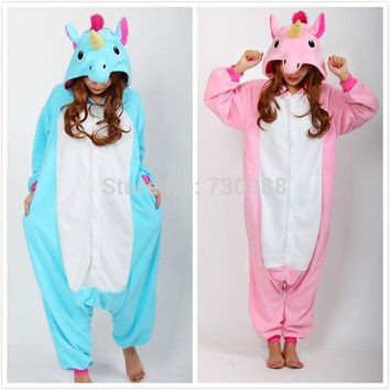 Christmas Halloween Blue/pink Candy Unicorn Onesuit Carnival Costumes For Adults Women Men Fleece Party Pajamas Dresses Sleepwear