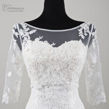 2016 New Arrival Summer 3/4 Sleeve Lace Wedding Jacket Bridal Shawls Bolero V Back Cheap Elegant Wedding Accessories Sheer