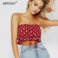 Articat Off Shoulder Polka Dots Print Crop Top Women Sexy Camis Summer Ruffles Bandage Tank Top Casual Chest Wrap Beach Tops