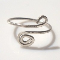 Hammered Silver Wire Spiral Toe Ring or Knuckle Ring