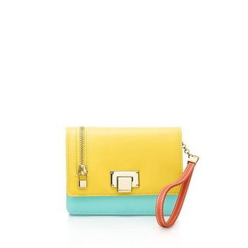 Tiffany & Co. -  Wrist pochette in daffodil, Tiffany Blue® and geranium smooth leather.