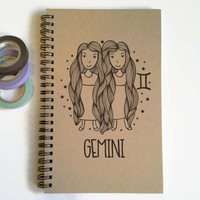 Writing journal, spiral notebook, cute diary, small sketchbook, scrapbook, memory book, 5x8 journal - Gemini, zodiac sign, astrology