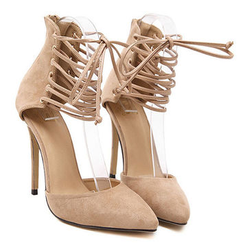 Ring Buckle Nude Black Pointy Pointed Toe Ankle Strap Strappy Stiletto High Heels Suede Flock Stilletos Shoes For Women Pumps