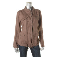 Calvin Klein Jeans Womens Juniors Linen Long Sleeves Basic Jacket