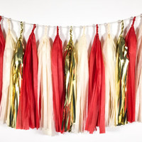 Vintage Candy Cane Tassel Garland - Red, Ivory, Gold Christmas Tissue Paper Tassel Garland - Christmas Decoration // Baby Shower // Holiday