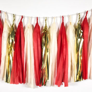 Vintage Candy Cane Tassel Garland   Red, Ivory, Gold Christmas T