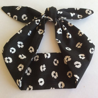 Dolly Headband, Tie-Up - Black with White Flower Print - READY TO SHIP!