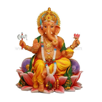 Ganesha Ganesh Seated on Lotus Throne Hindu Deity God Statue