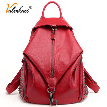 Valenkuci Brand women backpacks leather backpacks for teenage girls travel women bags rivet backpacks student school bag BD-144