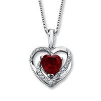 Lab-Created Ruby Necklace With Diamonds Sterling Silver