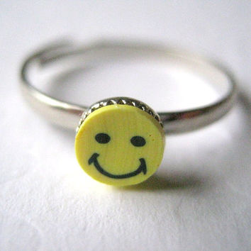 Happy Face Ring Smiley Face Ring Polymer Clay Stacking Ring Adjustable Jewelry Thin Silver Stacker Gift for Girls 70 Retro Ring Yellow Black