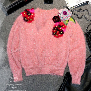 Luxury Sweaters 2017 Spring Shiny Pink 3D Flowers Embroidery Appliques New Fashion Sweater Casual Women