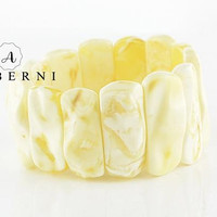Natural White Matt Baltic Amber Bracelet