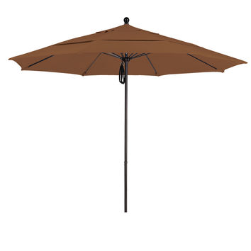 11 Foot Sunbrella 4A Fabric Aluminum Pulley Lift Patio Patio Umbrella with Bronze Pole