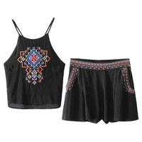 Black Folk Embroidery Cross Back Crop Cami Top And Shorts