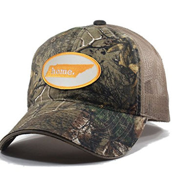 Homeland Tees Men's Tennessee Home State Realtree Camo Trucker Hat - Orange