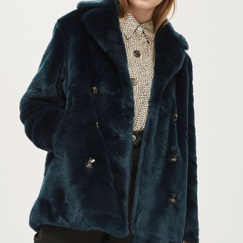 Faux Fur Pea Coat | Topshop
