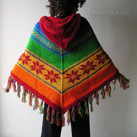 Rainbow  Knit  Woolen  Poncho - Woman - Hippie - Cozy - Warm - Pixie - Hood - Elf - Fairy - Shawl