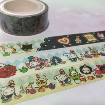rabbit washi Tape 5M sentimental circus washi tape japan pink rabbit circus animal deco sticker tape white lion circus theme decor gift