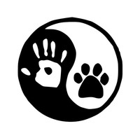"Yin Yang - Human Hand Dog Cat Canine Feline Paw Print Vinyl Decal Sticker 5"" x 5"" *Free Shipping*"