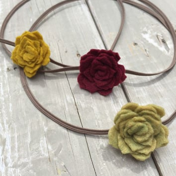 Fall Felt Flower Headband, Baby Headband Set, Red Flower Headband, Felt Flowers, Green Flower Headband, Infant headband set, newborn headban