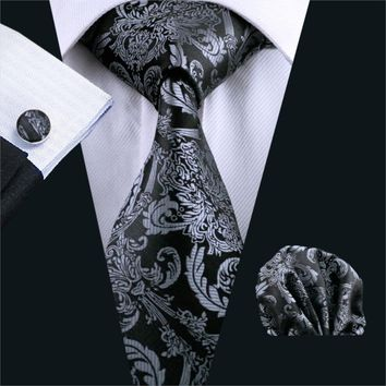 FA-822 Mens Necktie Black Paisley 100% Silk Jacquard Tie Hanky Cufflinks Set Business Wedding Party Ties For Men Free Shipping