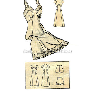 1940s Lingerie Full Slip & Panties Pattern V-Neckline Lace Trim Marian Martin 9012 Vintage Mail Order Sewing Pattern Bust 44 Princess Seams