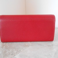 New MICHAEL KORS Fulton Leather Carryall Clutch Wallet $148 CHERRY RED