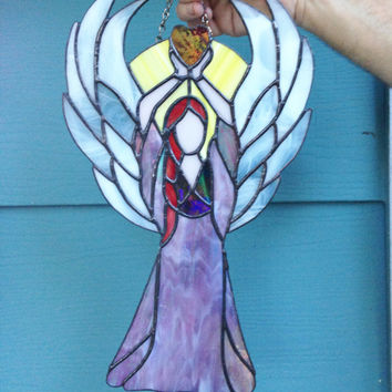 25% OFF SALE stained glass Angel, home accent, home decor, religious, gift, tiffany style, suncatcher, sun catcher window faith, hope, love